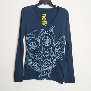 Nollie Black/White Owl Long Sleeve Tee. Size Small